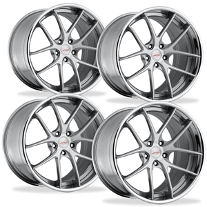 Corvette Custom Wheels WCC 639 3 Pc. Forged Series (Set) : Machined Face / Grey Window with Chrome Lip