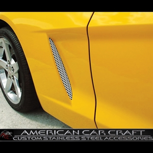 Corvette Side Vent Grilles - Perforated Stainless Steel : 2005-2013 C6