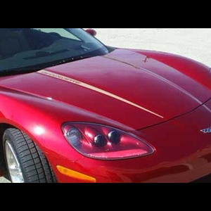 Corvette Hood Stripes - LS7 505HP Corvette Decal - Gold : 2006-2011 Z06
