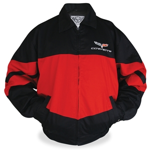 Corvette Color Block Twill Jacket w/C6 Emblem - Red/Black : 2005-2013 C6