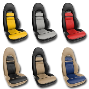 Corvette Seat Cover - 2-Tone Custom Leather - Modified for Sport Seats : 1997-2004 C5 & Z06