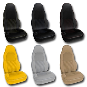 Corvette Seat Cover - Accented Custom Leather for Standard Seats Only : 1997-2004 C5 & Z06