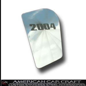 Corvette Hood Insert with Etched Year - Polished Stainless Steel : 1997-2004 C5 & Z06