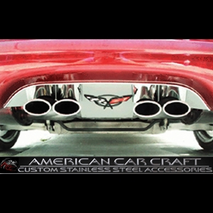 Corvette Exhaust Port Filler Panel - Polished Stainless Steel with C5 Emblem : 1997-2004 C5