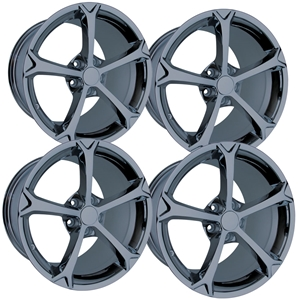 2010 Grand Sport Corvette GM Wheel Exchange (Set) : Black Chrome 18x9.5/19x12