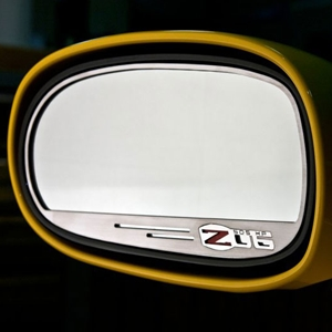 Corvette Sideview Mirror Trim, Pair Stainless Steel Brushed, GM Licensed: 2005-2013 C6 Z06 505HP