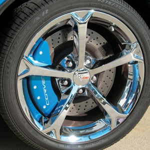 Corvette Brake Caliper Cover Set (4) - Carlisle Blue : 2006-2013 C6Z06 & Grand Sport Only with White Bolts and Script
