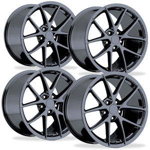 Corvette 2009 C6 Z06 Spyder - GM Wheel Exchange (Set) : Black Chrome 18 x 9.5 / 19 x 12