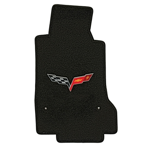 Corvette Floor Mats - Velourtex C6 Logo : 2005-2013 C6