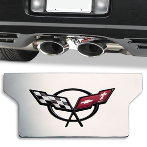 "Corvette Exhaust Plate - Polished Stainless Steel with C5 Logo ""Blemished"" : 1997-2004 C5 & Z06"