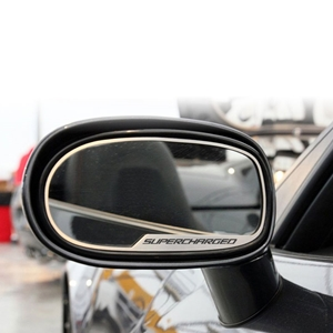 "Corvette Sideview Mirror Trim ""SUPERCHARGED"" - Brushed Stainless Steel 2 pc. : 2005-2013 C6, Z06, ZR1 & Grand Sport"
