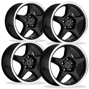Corvette Wheels - 1996 Grand Sport Style Reproduction (Set) : Black with Machined Lip