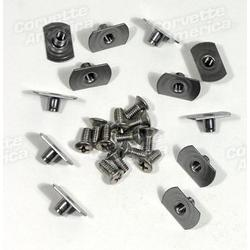 Corvette Softtop Header Weatherstrip Screw & T-Nut Set.: 1956-1962