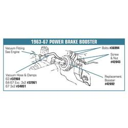 Corvette Power Brake Booster. Replacement - With Master Cylinder: 1963