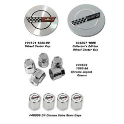 Corvette Wheel Center Cap - Chrome 17 inch without Emblem: 1988-1989