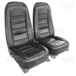 Corvette Leather Seat Covers. Black Leather/Vinyl Original: 1976-1978