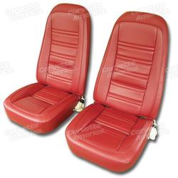 Corvette Leather Like Seat Covers. Red: 1977-1978