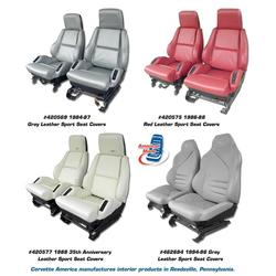 Corvette Leather Seat Covers. Red Grand Sport 100%-Leather With Foam: 1996