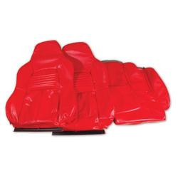 Corvette Leather Like Seat Covers. Red Standard: 1994-1996