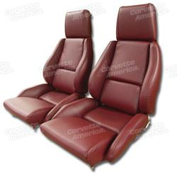Corvette Mounted Leather Like Seat Covers. Red Standard No-Perforations: 1984-1985
