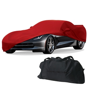 2014, 2015, 2016, 2017 C7 Corvette Stingray, Z51, Z06, Grand Sport Stretch Satin Car Cover w/C7 Flags Logo - Indoor
