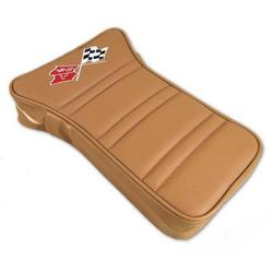 Corvette Center Armrest. Embroidered Medium Saddle Leather: 1973-1975