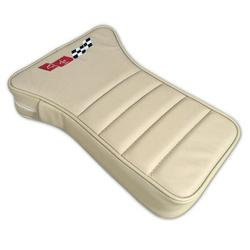 Corvette Center Armrest. Embroidered Oyster Leather: 1979-1980