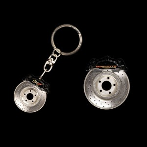 Corvette Brake Rotor Keychain with 50th Anniversary Logo