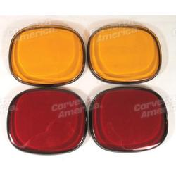Corvette Taillight Lens. Bubble 4 Piece - 2 Red & 2 Amber: 1991-1996