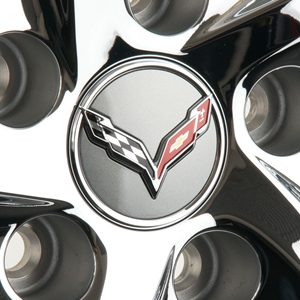 2014, 2015, 2016, 2017 C7  Corvette Stingray Chrome Accented Center Cap w/Crossed Flags Logo - Argent