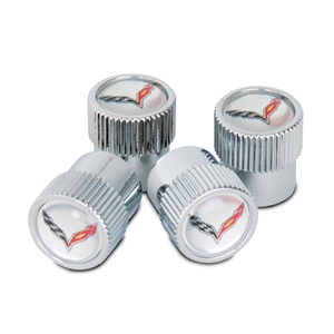 Corvette Valve Stem Cap - Silver - 4 Pieces : 2014 C7