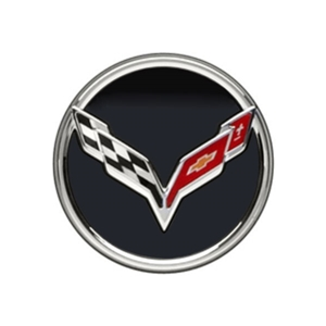 2014, 2015, 2016, 2017 C7 Corvette Stingray GM Chrome Accented Center Cap w/Crossed Flags Logo - Black