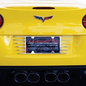 2005 - 2013 C6 Corvette Open End License Plate Frame - Billet Chrome : 2005-2014 C6, Z06, ZR1, Grand Sport & C7 Stingray