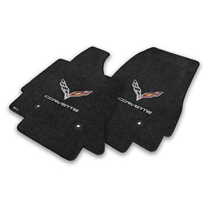 2014, 2015, 2016, 2017, C7 Corvette Stingray Floor Mats - Lloyds Mats with C7 Crossed Flags & Corvette Script : Black, Dark Grey