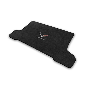 2014, 2015, 2016, 2017 C7 Corvette Stingray Cargo Mat Convertible - Lloyds Mats with Crossed Flags & Corvette Script : Black, Dark Grey