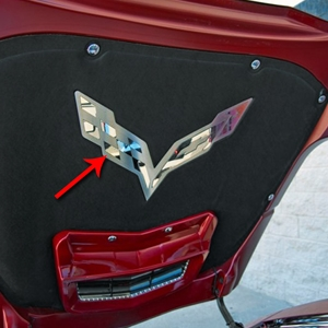 2014, 2015, 2016, 2017, C7 Corvette Stingray Hood Panel Badge - Crossed Flags for Factory Hood Pad - Polished/Brushed Stainless Steel