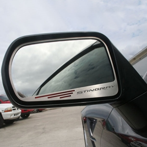"2014, 2015, 2016, 2017 C7 Corvette Stingray, Z51 Side View Mirror with ""STINGRAY"" Script 2Pc - Standard Mirror"