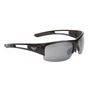 Corvette Sunglasses - Rimless Gloss Black : C5 Logo