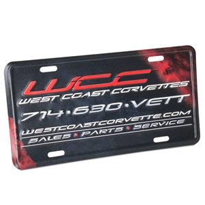 West Coast Corvettes License Plate Frame - Stamped Metal