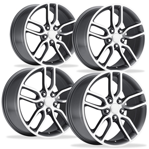 2014 C7 Corvette Z51 Style Reproduction Wheels (Set) : Grey w/Machined Face