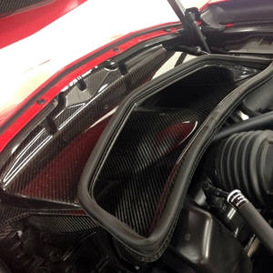 2014,2015,2016,2017, C7 Corvette Stingray Radiator Exit Duct - Carbon Fiber Katech