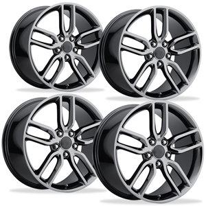2014 C7 Corvette Z51 Style Reproduction Wheels (Set) : Black Chrome 17x8.5/18x9.5 1997-2004 C5