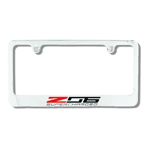 2014, 2015, 2016, 2017 C7 Corvette Chrome License Plate Frame w/Z06 Supercharged Script