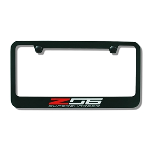 2014, 2015, 2016, 2017 C7 Corvette Stingray Black License Plate Frame w/Z06 Supercharged Script