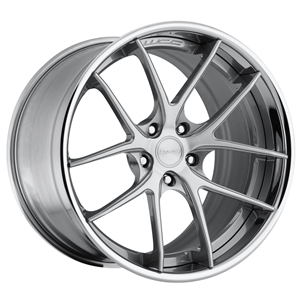 Corvette Custom Wheels WCC 639 3 Pc. Forged Series : Machined Face / Grey Window with Chrome Lip