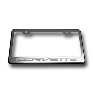 "2014,2015,2016,2017, C7 Corvette Stingray License Plate Frame - Black w/Brushed Stainless Steel Overlay & Carbon Fiber ""CORVETTE"" Script 2014 2015"