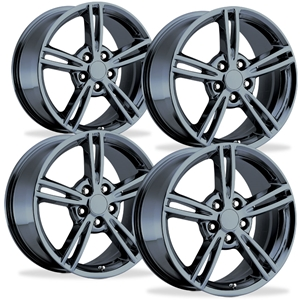 Corvette Wheels - 2008 Style Split Spoke Reproduction (Set) : Black Chrome
