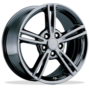 Corvette Wheels - 2008 Style Split Spoke Reproduction : Black Chrome