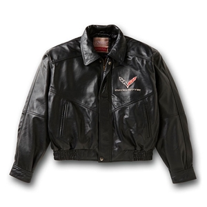 Corvette Jacket - Leather Bomber Jacket with C7 Emblem : 2014
