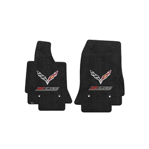 2015, 2016, 2017, C7 Corvette Z06 w/ Crossed Flags Floor Mats - Lloyds Mats : 127 Jet (Black)